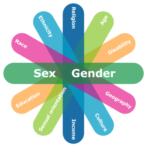 Intersectionality image: illustrating some of the identity factors considered in GBA+