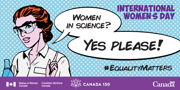 """International Women's Day"", with text ""Women in science? Yes please!"""